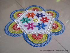 Multicolored 8 by 4 dots rangoli | Creative flower shaped rangoli by Poonam Borkar - YouTube