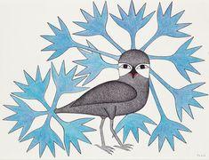 Blue Decorated Owl (2008) by Kenojuak Ashevak Medium: ink, coloured pencil Size: 20 × 26 inches