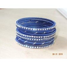 Bangle with blue metallic stone & silk thread