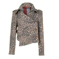 vivienne westwood red label Womens Leopard Jacquard Jacket ($305) ❤ liked on Polyvore featuring outerwear, jackets, coats, tops, women, oversized collar jacket, leopard print jacket, oversized jacket, jacquard jacket and leopard jacket