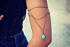 turquoise drop armlet upper arm chain body chain by alapopjewelry, $26.00