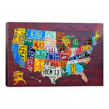 """Decorative Art """"License Plate Map USA"""" by David Bowman Graphic Art on Canvas"""