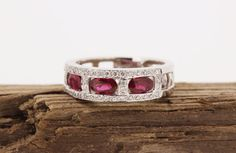 Ruby Wedding Ring Pave Set Diamond Wedding Band 14k White Gold Ring Eternity Band Gemstone Ring Estate Ring Size 6.5 by FergusonsFineJewelry