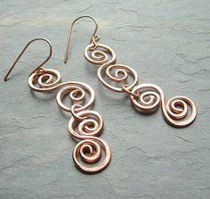 Copper Earrings Hammered Copper Swirl Earrings fall by ArtistiKat