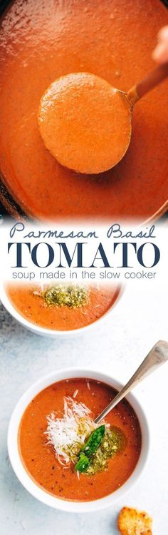 Parmesan Basil Tomato Soup - Tomato soup made in the slow cooker, loaded with tons of flavor! Tomato Basil Soup Crockpot | cheese herbs