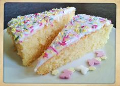 Simple school sponge cake with white icing and sprinkles recipe how to make