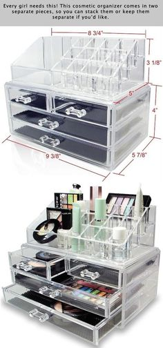 55 Genius Storage Inventions That Will Simplify Your Life -- A ton of awesome organization ideas for the home (car too! A lot of these are really clever storage solutions for small spaces. Source by RuthLillyChilders room Organizer Makeup, Diy Makeup Storage, Make Up Storage, Craft Storage, Makeup Organization, Storage Organization, Storage Ideas, Organizing, Cosmetic Organiser