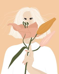 Can't stop drawing women with flowers 🌸 Illustration Art Drawing, Illustration Mode, Portrait Illustration, Art Drawings, Aesthetic Art, Korean Aesthetic, Minimalist Art, Cartoon Art, Cute Art