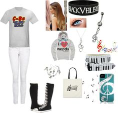 A fashion look from January 2013 featuring Theory, slim jeans and converse shoes. Browse and shop related looks. Nerd Outfits, Band Nerd, Really Cute Outfits, Jeans And Converse, Music Things, Slim Jeans, Teen Fashion, Outfit Of The Day, Nerdy