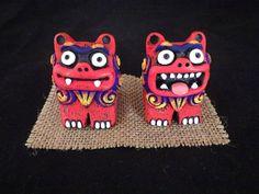 F/S Kariyushi Red Shisa Okinawa Ryukyu Japan Traditional Guardian Lion Good luck #ChurashimaHonpo
