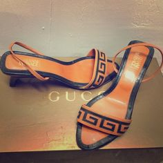 Vintage Gianni Versace leather sling back sandals VERSACE. Made in Italy. Orange greek key leather sling back sandals. Super comfortable. Size 37. Price negotiable. Worn but still really good condition. Genuine Versace Shoes Sandals