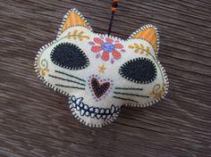 Cat Calavera-felt ornament
