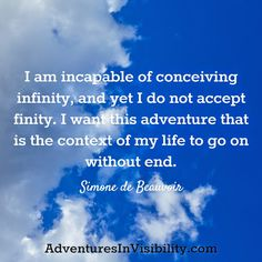I want this adventure that is the context of my life to go on without end. ~ Simone De Beauvoir  http://AdventuresInVisibility.com