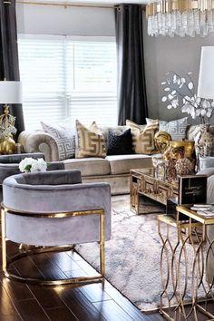 small modern luxury living room design ideas - Internal Home Design Glam Living Room, Living Room Decor Cozy, Elegant Living Room, Living Room Interior, Home Interior, Modern Living, Interior Livingroom, Decor Room, Formal Living Rooms