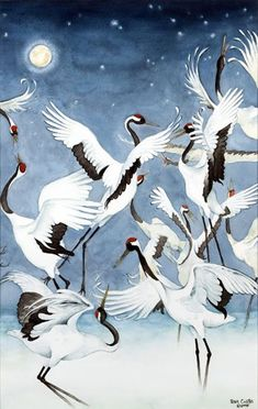 Red-Crowned Cranes Triptych Courtship by Peter Collins Chinese Drawings, Bird Drawings, Asian Artwork, Japan Painting, China Art, Watercolor Bird, Japan Art, Bird Art, Oriental
