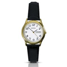 Sekonda Ladies Quartz Analogue Watch features a Shiny Gold Plated Case with a white Dial and Day& Black Leather Strap. Water resistant to 30 metres. Guaranteed for 2 years. Quartz Stone, Watch Brands, Black Leather, Lady, Gold, Accessories, Analog Watches, Water, Compliments