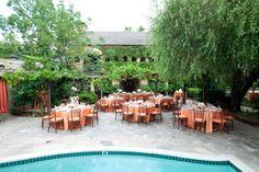 Poolside dining -Wedding at Kenwood Inn {Photo by Bustle & Twine}