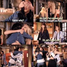 Season 6 : Aria, Hanna, Emily, Spencer Gets Reunited Watch Pretty Little Liars, Preety Little Liars, Pretty Little Liars Quotes, Pll Quotes, Pll Memes, Tv Show Quotes, Best Series, Tv Series, Miss You Too