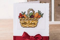 Create these cute cards for your green-fingered friends! This vegetable cross stitch chart is designed by Lesley Teare for The World of Cross Stitching and is now up for free on Gathered 🌽🥦🥕 Wedding Cross Stitch Patterns, Cross Stitch Designs, Cross Stitch Cards, Cross Stitching, Craft Party, Diy Party, Elephant Cross Stitch, Cross Stitch Needles, Back Stitch