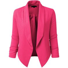 Womens Textured 3/4 Sleeve Open Blazer Jacket ❤ liked on Polyvore featuring outerwear, jackets, blazers, blazer, stretch blazer, drape jacket, textured blazer, three quarter sleeve blazer and draped collar jacket
