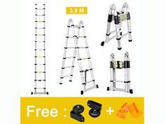 Finether 12.5ft Aluminum Telescopic Extension Ladder Best Ladder, Telescope