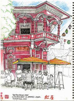 Urban Sketchers - Buz Walker: The Red House, Johor Bahru, Malaysia