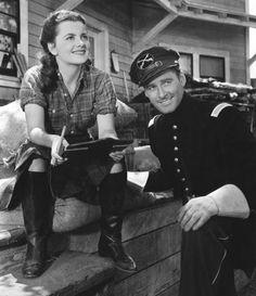 Olivia de Havilland and Errol Flynn in Santa Fe Trail (1940)