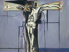 Graham Sutherland, Crucifixion, 1946. His primary reference point was Matthias Grunewald's famous Issenhiem altarpiece, in which Christ is shown anguished and blistered; Sutherland drew himself slung from the ceiling.