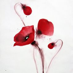 watercolour poppy, tattoo idea for back of arms