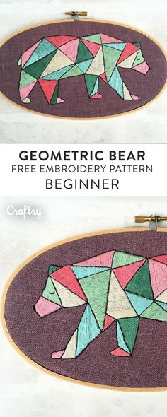 This little bear is deceptively simple in appearance. This beginner embroidery pattern is not very hard to stitch, being worked almost entirely in satin stitch!