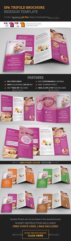 Spa & Beauty Salon Trifold Brochure Template #design Download: http://graphicriver.net/item/spa-beauty-salon-trifold-brochure-template/10395235?ref=ksioks