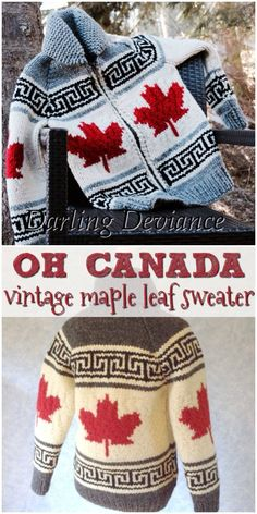 Beautiful Oh Canada vintage maple leaf sweater knitting pattern! Love this pattern. Happy C Dishcloth Knitting Patterns, Sweater Knitting Patterns, Knit Patterns, Knit Sweaters, Mens Knit Sweater Pattern, Color Patterns, Stitch Patterns, Cardigans, Men Sweater