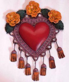 Dos Mujeres Mexican Folk Art - Sacrado Corazon con Flores