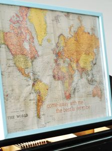 wanting a world map to mark all of our adventures...love the saying with it.