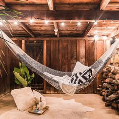 Breezy, loose-knit rope hammock