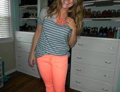 Highlighter denim and summer stripes.