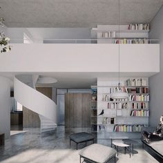 CZERNIAKOWSKA ROOFTOP EXTENSION | minimal design, white steel spiral staircase, floor to ceiling bookcase, oak, concrete floor