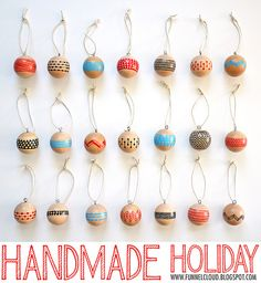 Handmade Holiday: Modern Painted Wood Ball Ornaments. #HandmadeHoliday2012