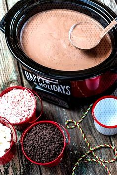 hot chocolate bar Snuggle up with Slow Cooker Hot Chocolate Crockpot Hot Chocolate, Hot Chocolate Bars, Hot Chocolate Recipes, Chocolate Food, Chocolate Making, Homemade Hot Chocolate, Hot Chocolate Crock Pot Recipe, Crockpot Hot Cocoa Recipe, Crockpot Drinks