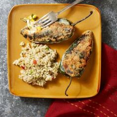 Chiles Rellenos with Chicken  NUTRITION  Per serving: 338 calories; 18 g fat ( 7 g sat , 8 g mono ); 58 mg cholesterol; 23 g carbohydrates; 0 g added sugars; 23 g protein; 3 g fiber; 675 mg sodium; 607 mg potassium.
