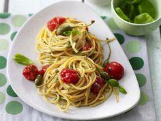 Receitas - Esparguete de trigo integral com tomate cereja - Petiscos.com