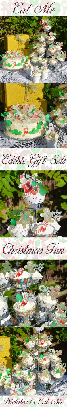 Edible Christmas Fun - Winter Holiday Cake, Cupcake, Cookie & Biscuit Decorations Wafer Paper. Limited edition Boxed Gift sets in beautiful Sparkling boxes. by #WicksteadsEatMe #Wicksteads Snowmen Snowflakes Santa Gingerbread Man Gingerbread Men Holly Berries Candy Cane Glittering Gold