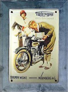 Placa Vintage Triumph. Pino azul