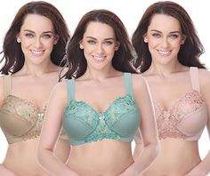 47a23cd0bce Curve Muse Plus Size Minimizer Unlined Wirefree Bra with Lace Embroidery- 3Pack-SAGE