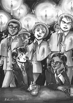 """smiling-grouch: """"Day 13: Harry Potter AU The Beauxbaton boys introduce themselves. Aah~ """""""
