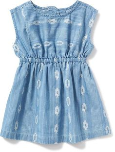 Printed Chambray Dress for Baby Product Image Baby Outfits, Baby Girl Dresses, Kids Outfits, Chambray Fabric, Chambray Dress, Bohemian Girls, My Baby Girl, Baby Baby, Kind Mode