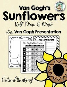 Are you ready for a fun new way to teach about Vincent van Gogh?  Your students will not only learn about van Gogh but also do some art criticism (talking about art) during the presentation.  Then they will have a blast making a sunflower drawing with Expressive Monkeys fun approach to drawing.