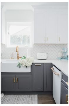 My White & Gold Kitchen with Cafe Appliances Check out my white and gold cozy coastal kitchen and my Farmhouse Kitchen Cabinets, Kitchen Cabinet Colors, Kitchen Redo, Home Decor Kitchen, Home Kitchens, Dark Grey Kitchen Cabinets, Two Toned Cabinets, Coloured Kitchen Cabinets, Backsplash Kitchen White Cabinets
