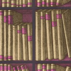 Ex Libris Wallpaper - Wallpaper with faux book design in gold and magenta