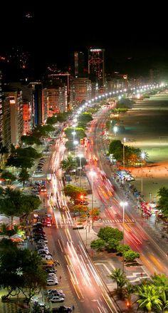 Copacabana at night, Rio de Janeiro, Brazil (by TerryGeorge)